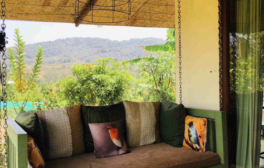Sofa set in outside corridor of forest hills estates