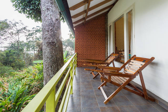 porch of the plantation stay in munnar