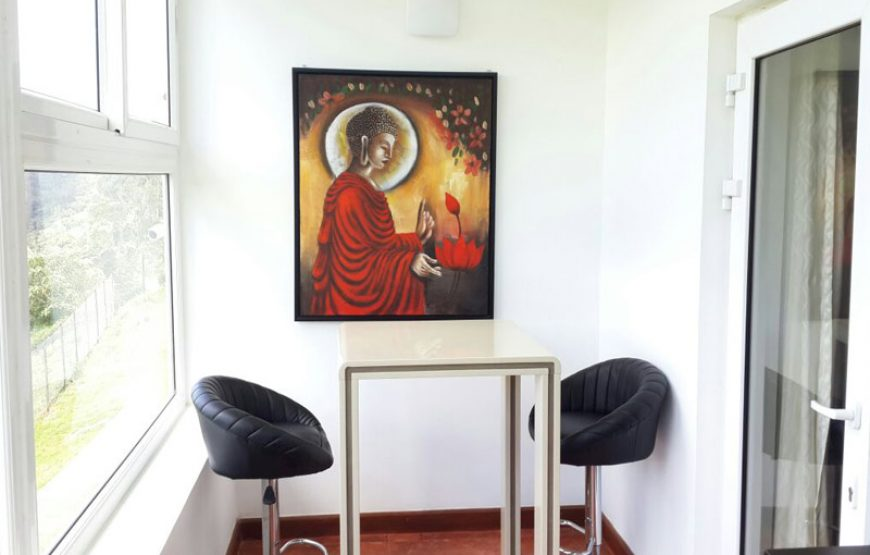 A Couple of seats near the painting of buddha in vue ooty