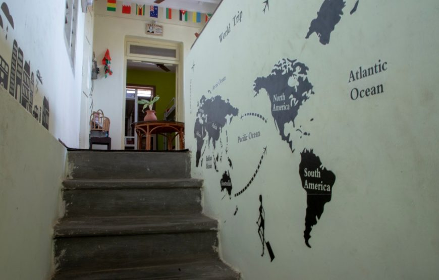 world map painted in the decostel backpackers hostel