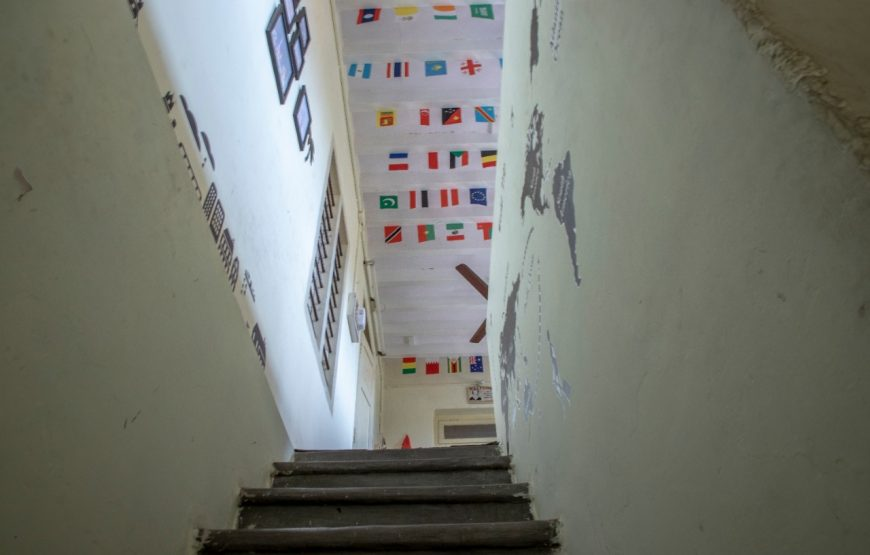 All Nation flags were sticked in the cealing of decostel backpackers hostel