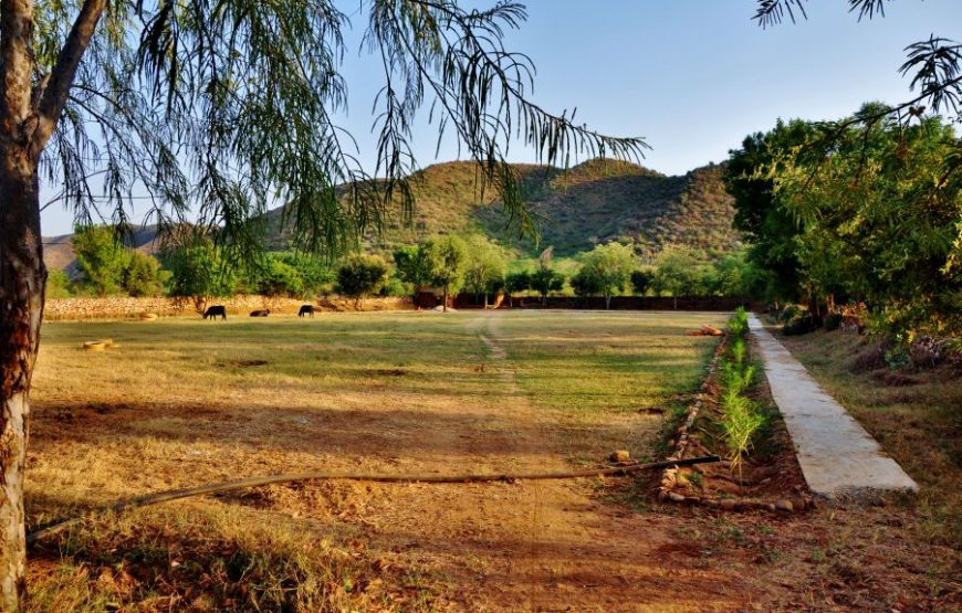 Beautiful view of aravali hills adventure camp