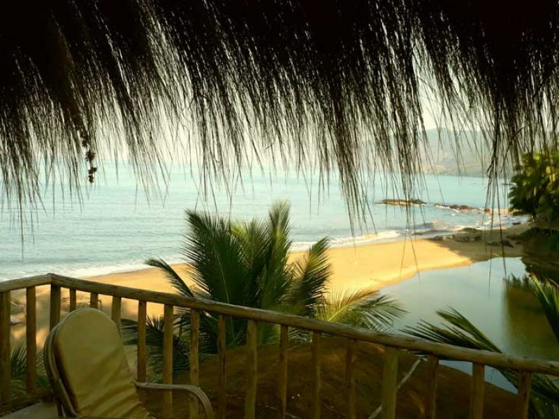 sea shore view from beach huts in goa