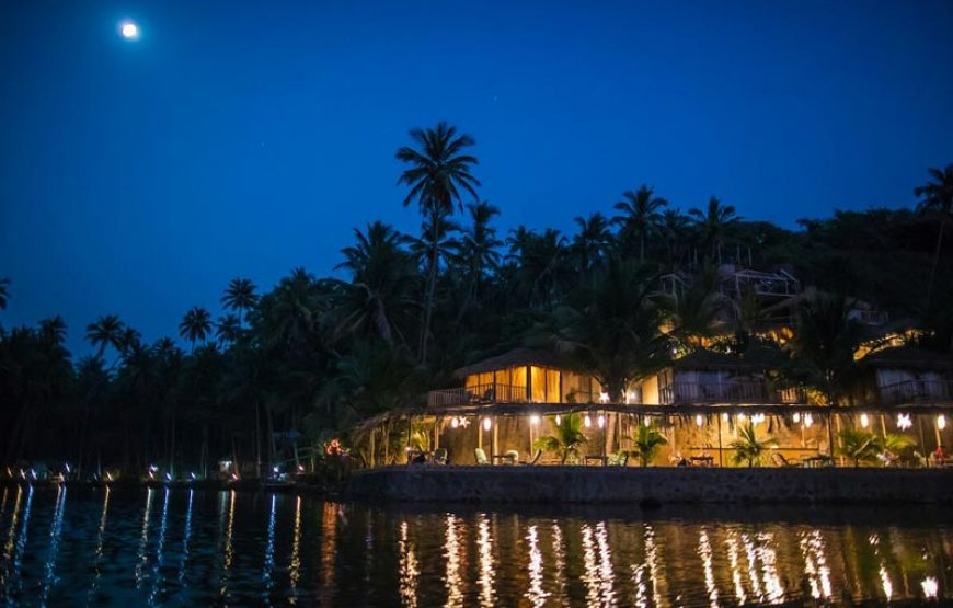 night view of huts in goa