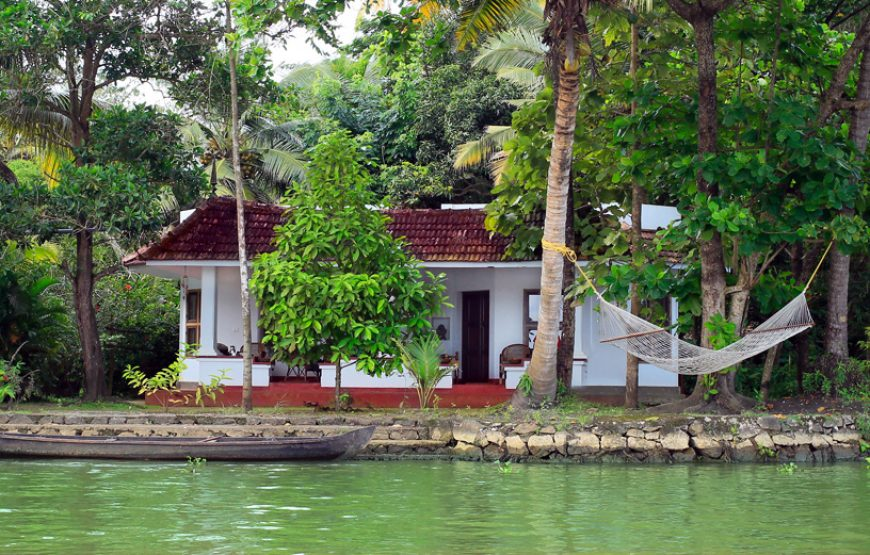 A beautiful view of house from backwater stay in alleppey