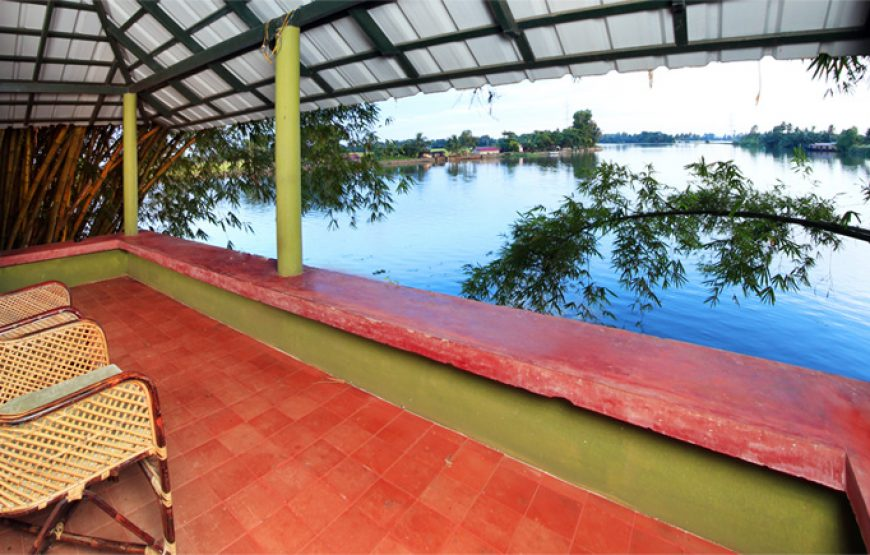 view from the corridor outside from backwater stay in alleppey