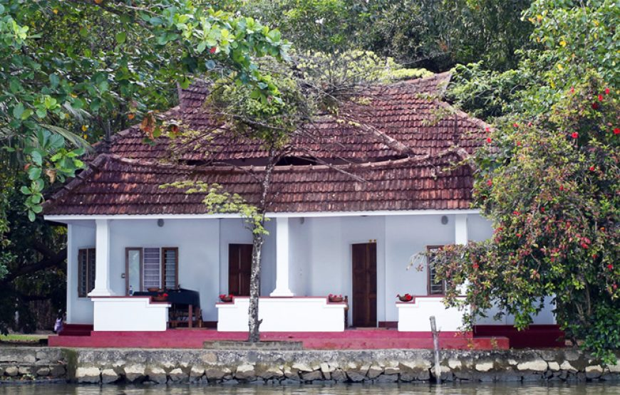 A beautiful stone roof house from backwater stay in alleppey
