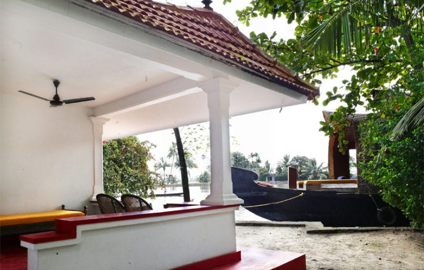 outside Corridor and house boat of backwater stay in alleppey