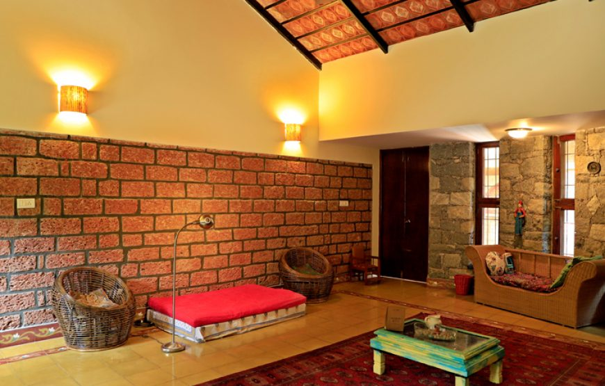 Spacious living room with all amenities in courtyard Bangalore