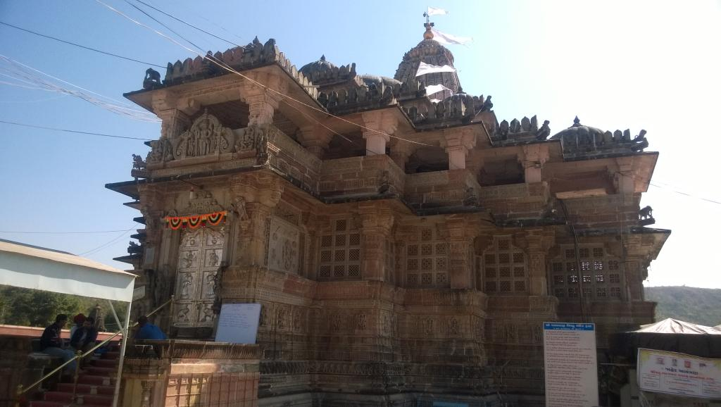 Front view of hindu temple nearby aravali nature camp
